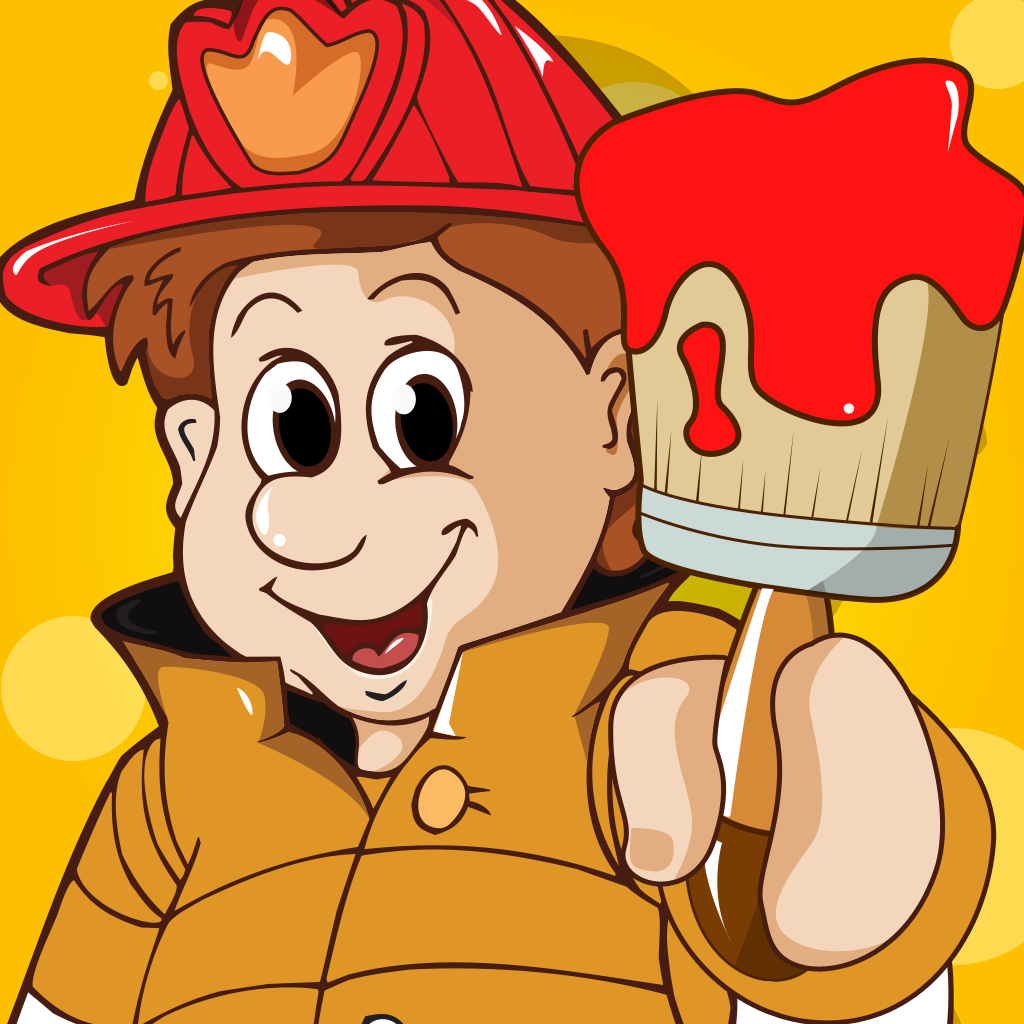 Firefighter Coloring Book for Children: Learn to color firemen, firefighters and fire-equipment